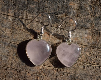 rose quartz earring,heart shape rose quartz gemstone earring,sterling silver earring,92.5 silver earring,natural gemstone earring
