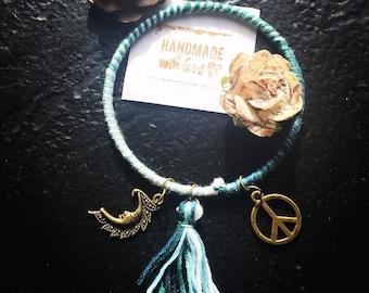 Hand Wrapped Tassel & Charm Bangle Bracelets