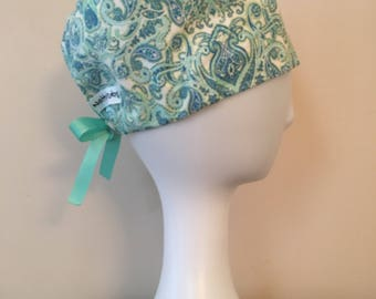 NattyScrubs Teal, Light Blue Paisley Scrub Hat, Surgical Cap, Scrub Cap