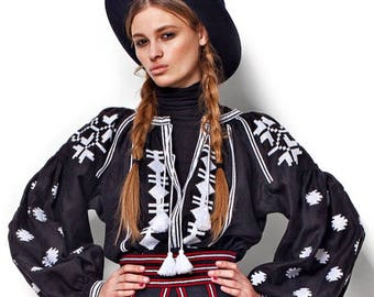 Vyshyvanka Embroidered Linen Blouse Boho Chic Blouse Folk Top Ukrainian Blouse Vyshyvanka Linen Blouse Ukraine Bohemian Blouse Black Shirt