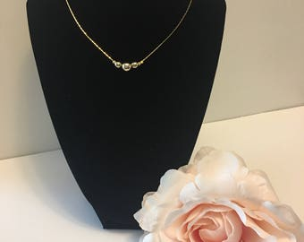 Gold Bead Necklace, Bead Pendant Necklace, Crystal Bead Necklace, Gold Necklace, Crystal Necklace, Crystal Clear Pendant, Bridesmaids Gift