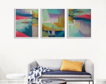 Abstract Art Print Set, Gallery Wall Art Set, Abstract Living Room Art Print, Modern Geometric Poster, Abstract Art Print Set, XL Wall Decor