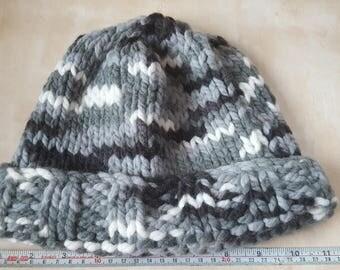 Adult's Beanie hat, Hand knitted, Grey/Black/White, Extra chunky yarn, Handmade, Chunky Beanie, Gift, Warm Winter hat, Cosy, Birthday, Walks