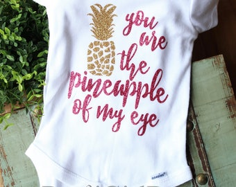 Pineapple bodysuit, pineapple baby, pineapple of my eye, going home outfit, baby shower gift, glitter baby outfit, funny baby girl, new baby