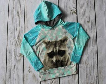 Grow with me children's sweater, hooded sweater for kids, stretchy, raccoon, geo print, shapelines, hood, teal, aqua, bunny hug sweater