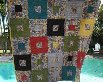 """Bee """"Sneaky"""" Child's Quilt - Gender Neutral - Modern - Square in a Square"""