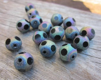 Sand blasted beads // rainbow beads // spotted beads