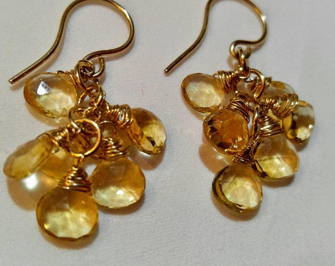 14k gold earrings, Citrine chandelier earrings. Citrine dangle and drop,  earrings for her. Yellow earrings. Thanksgiving dangle earrings.
