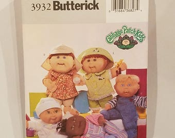 Butterick 3932 Sewing Pattern Cabbage Patch Kids Baby Doll Clothes UNCUT FF