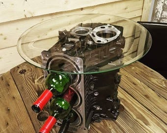 Engine block wineholder/end table