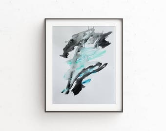 Original Abstract Painting on Paper 11x15 with black blue teal green gray  UNFRAMED  artwork