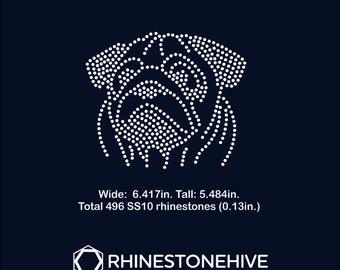Pug dog rhinestone templates digital download, svg, eps, png, dxf