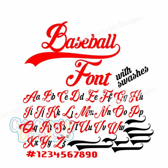 Baseball Font SVG Eps Dxf SIlhouette Numbers Cut file for