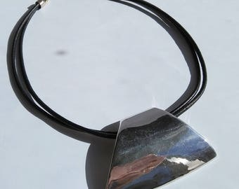 Israel Sterling Silver Modernist Pendant On Leather Necklace Free Domestic shipping