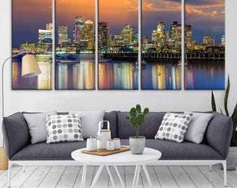 Boston City Skyline Decorative Wall Art Canvas Print For Interior Office Design
