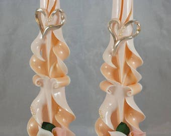 """Hand Carved Pair 10"""" Taper Candles with wax candlestick holders"""