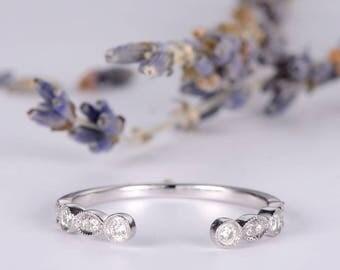 Diamond Cuff Ring White Gold Open Ring Art Deco Wedding Band Women Adjustable Dainty Anniversary Gift Promise Graduation Matching Band Thin