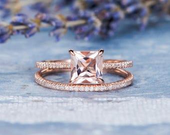 Morganite Bridal Set Rose Gold Princess Cut Engagement Ring Eternity Stacking Wedding Band Women Rose Gold Ring Set Promise Anniversary