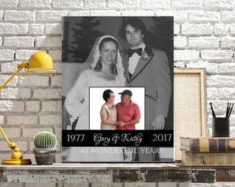 Then & Now Personalized Anniversary Milestone Custom Photo Canvas  25th, 30th, 35th, 45th, 50th Anniversary Gift for Parents, Golden Anniver