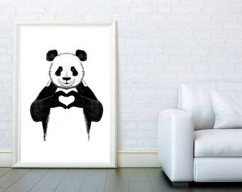 Panda with heart romantic poster. Black and white panda print, wall art modern poster, graphic design, minimalist designs. Free shipping.