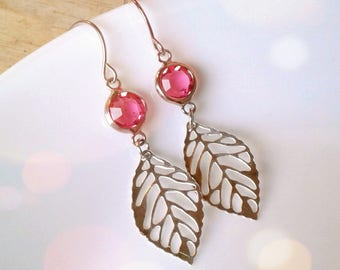 Silver Leaf Pink Gem Earrings Silver Skeleton Leaf Pink Glass Gem Earrings Bridesmaid Earrings Filigree Leaf Earrings Women's Earrings