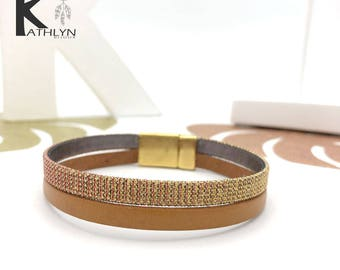 Double brown leather and gold hologram leather bracelet