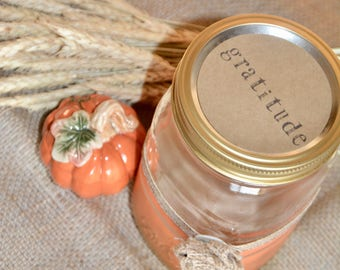 Gratitude Jar Kit - Mason Jar - Thanksgiving - Gratitude - Thanksgiving Table Decor - Thanksgiving Decorations