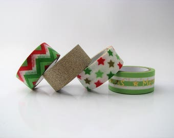 Washi tape Christmas - set of 4 rolls - adhesive tape - self-adhesive paper - 3 meters long - christmas stars- gold tape - bullet journal
