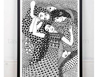 The Virgin. Gustav Klimt. A3 Print. Art. Famous Painting. Famous Painter. Contemporany. Classic Art. Black and white.© FREE SHIPPING