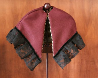 """Reproduction Antique Doll Burgundy wool Mantle with lace Trim for 18""""-20"""" Doll"""
