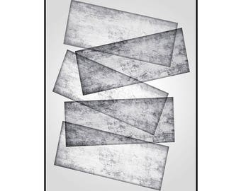 Geometric wall art, abstract painting, modern painting, home decor, office decor, large wall art, black and white art, contemporary art.