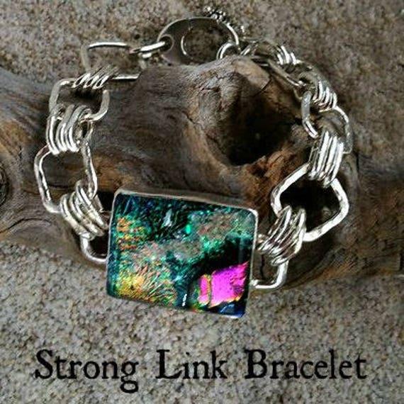 Memorial Blown Glass Triple Link Bracelet in Sterling Silver