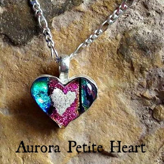 Memorial Heart Necklace with Ashes in Glass mounted in Sterling Silver
