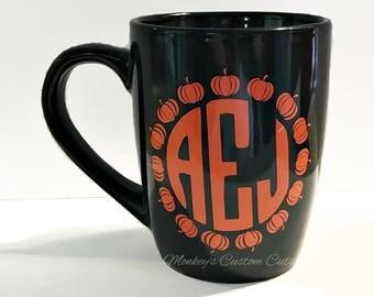 Pumpkin Monogrammed Coffee Mug, Monogrammed Coffee Mug, Fall Coffee Mug, Pumpkin Coffee Mug, Coffee Mug, Monogram, Pumpkin, Coffee Mug, Mug