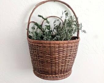 wall pocket basket | wicker wall decor | wall planter box | plant hanger