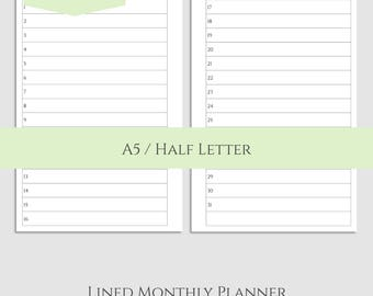 "Lined Monthly Calendar Printable Planner Inserts ~ MO2P List Format, Monthly View, Important Dates ~ A5 / 5.5"" x 8.5"" Instant Download"