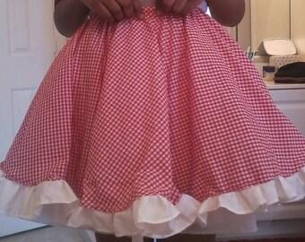 Red Checkered Skirt