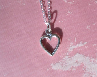 Very Simply Modern Heart Charm Necklace Sterling Silver