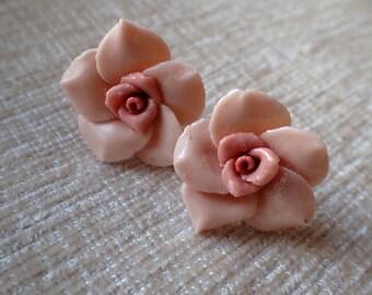 Rose Earrings, Resin Earrings, Floral Earrings, Vintage Earrings, Pink Earrings, Earrings, Gifts for Her, Mothers Day Gift, Women Gift