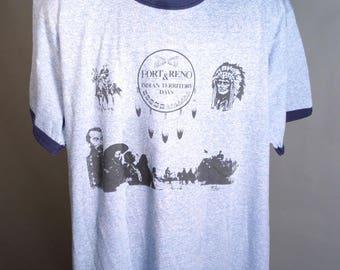 80s Fort Reno Native American Souvenir Shirt Blue Heather Ringer Sz Large Screen Stars Polycotton 50/50 Blend Super Soft Tee 1980s Oklahoma