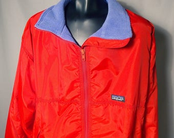 90s Patagonia Red Blue Fleece Lined Sz Large Puffy Coat Jacket Zip Up Weather Made USA 1990s Windbreaker Soft Shell Bright Warm Cozy Street