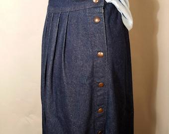 "90s Tea Length Midi Denim A-Line Full Skirt With Pocket Sz 14 XL Large Sasson Jean Button Down Elastic Waist 27"" to 32"" Ankle Length Fall"