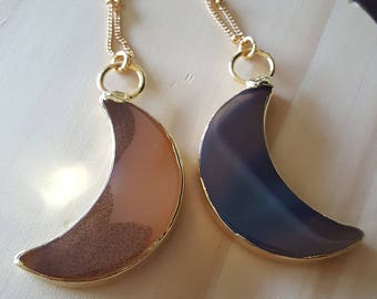 Agate Moon Slab *Gold Layering Necklace*