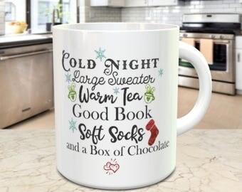 Good Book Coffee mug, Warm Tea Mug, Cold Night Coffee Mug, Gift For Her, Relax on a Cold Night, Tea Lover Gift, Chocolate Mug CHRISTMAS GIFT