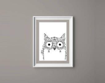 Black Owl Print / Be Who You Are Print / Owl Print Picture / Owl Teens Room Poster / Owl Printable Art / Owl Wall Decor / Owl Girls Wall Art