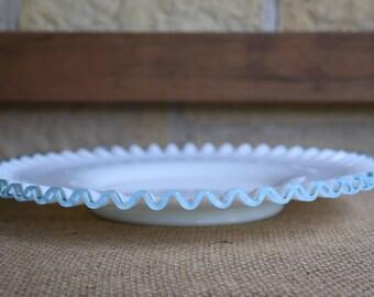 Fenton Aqua Crest Old Colony  11 1/2 inch Plate, Pale Blue Ruffle
