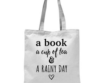 Book lover tote, a book a cup of tea, bookbag, book lover tote, bookworm tote, bags for book lovers, bibliophile, bookworm, reading lovers.