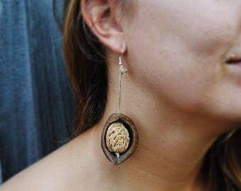 All Natural Vegan Seed Earrings / Handmade Jewelry / Boho Earrings / Vegan Jewelry / Vegan Accessories / Seed Jewelry / Natural Earrings