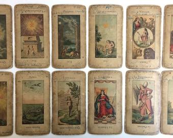C.1890 Parisian Tarot Deck Grand Etteilla 78 Cards Rare Old Used France Complete
