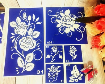 "Stencils for temporary tattoos. ""Roses"" set, 6 pieces. Glitter tattoo. Adhesive stencils.Body art tattoo /face painting stencils"